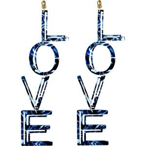 Statement by Nadia Earrings Love Spellout Marble Blue Lightweight Drop Dangle